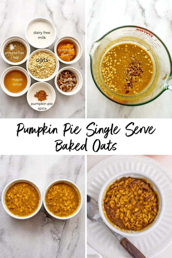 Steps on how to make pumpkin pie baked oats for one.