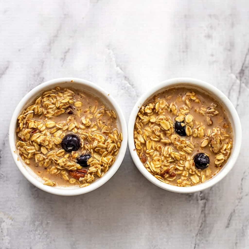 Single serve oatmeal before baking.