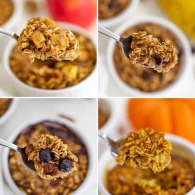 Single serve baked oats 4 ways in collage.