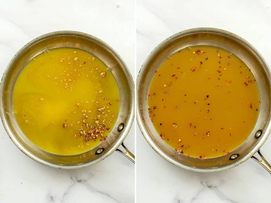 Orange sauce before and after stirring.