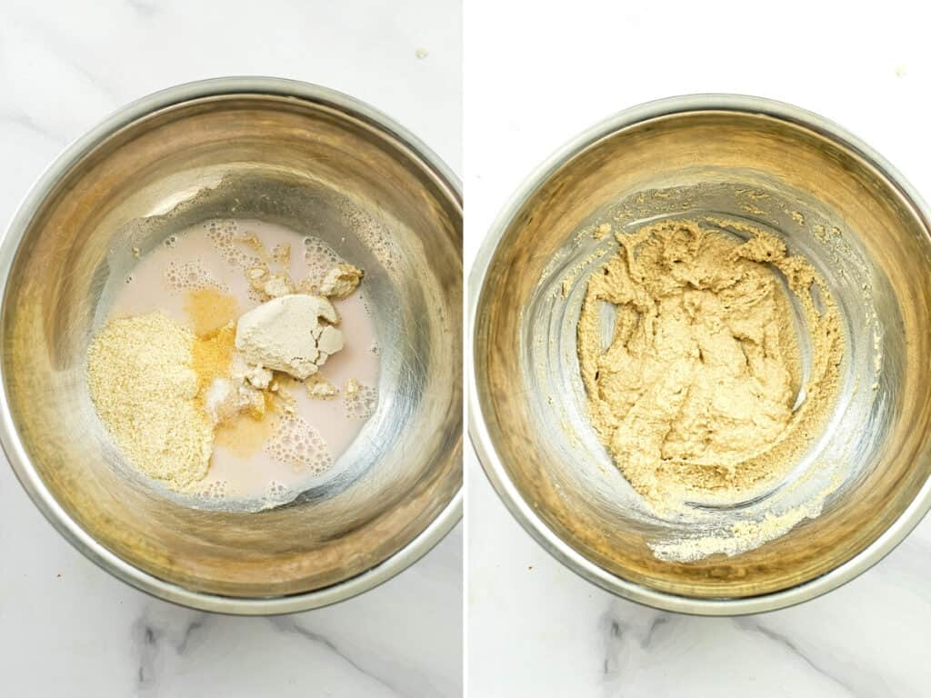 Batter for crispy cauiflower before and after stirring.