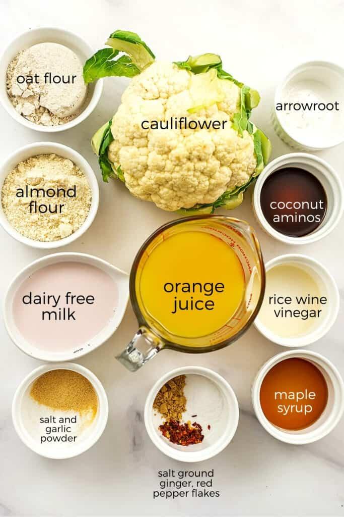 Ingredients to make orange cauliflower.