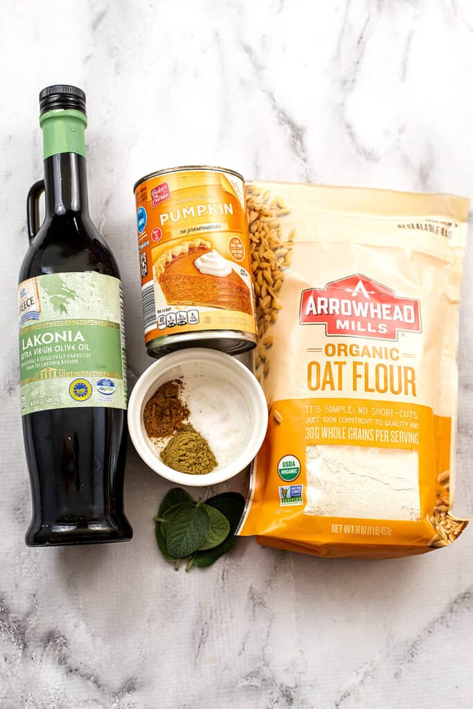 Ingredients to make vegan pumpkin gnocchi.